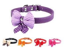 2016 Knit Bowknot Dog Puppy Pet Collars Adjustable PU Leather Necklace small doggy collar candy color on sale drop shipping(China (Mainland))