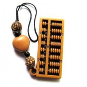 Abacus imitation cherry wood mobile phone accessories key pendant chain night market