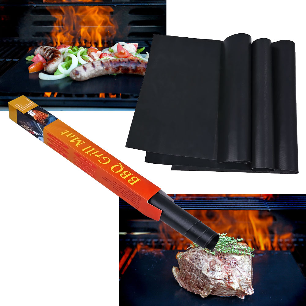 Special Offer 3Pcs Teflon BBQ Grill Mats Meshes For Churrasco Barbecue Grill BBQ Tools Sheet Cooking and Baking(China (Mainland))