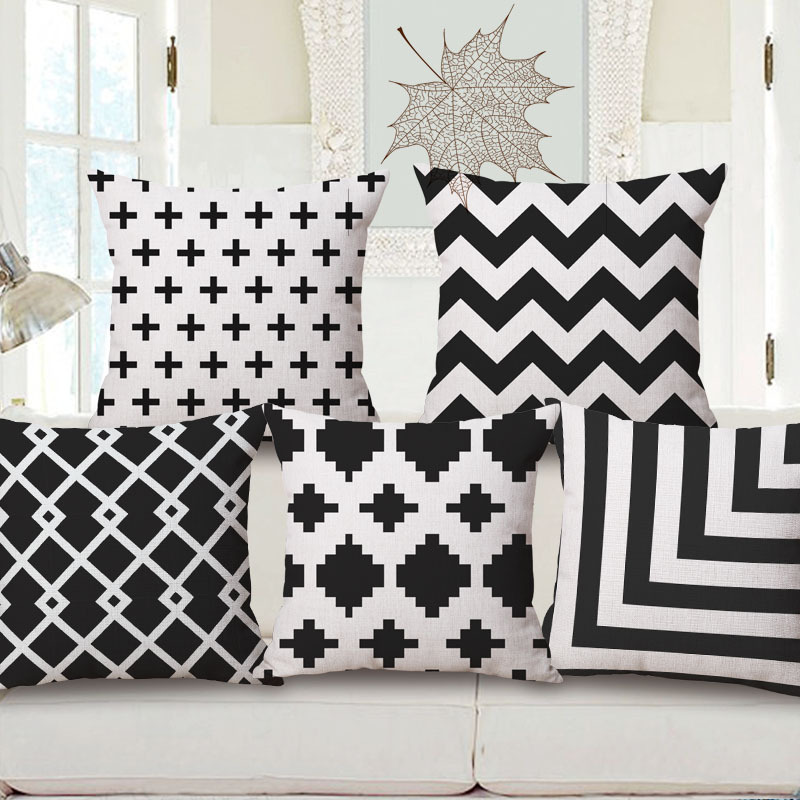 Free shipping linen fabric pillow cover Hot sale 1pcs new 45cm Simple style black stripe office decor sofa cotton cushion cover