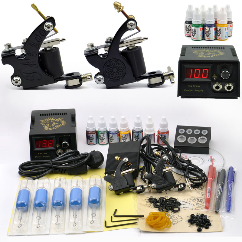 Professional Tattoo Set 2 Tatoo Guns 7 Color Inks kit tattoo complete machine rotary Power Supply body art cheap beginner(China (Mainland))