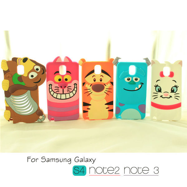 Cat Dog Tiger Sulley 3D Cute Cartoon Soft Silicone Case for Samsung Galaxy S3 S4 S5 Note 2 3 4 N7100 N9000(China (Mainland))