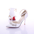 New Summer Woman Pure White Bridal Shoes With High Stiletto Wedding Dress Sandals Pink Red 9cm