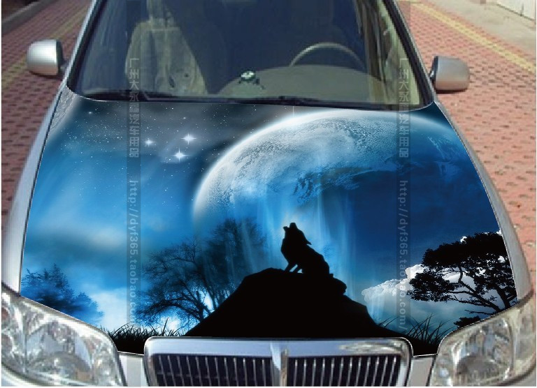 ems free shipping universal customized wolf night car sticker styling engine hood head body. Black Bedroom Furniture Sets. Home Design Ideas