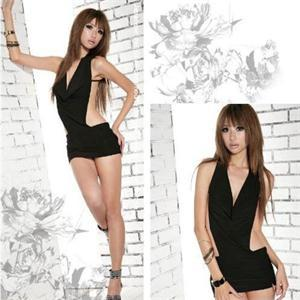 New Attractive Sexy Lingerie For Women Ladies Solid Black Babydolls Backless Dress + G String(China (Mainland))