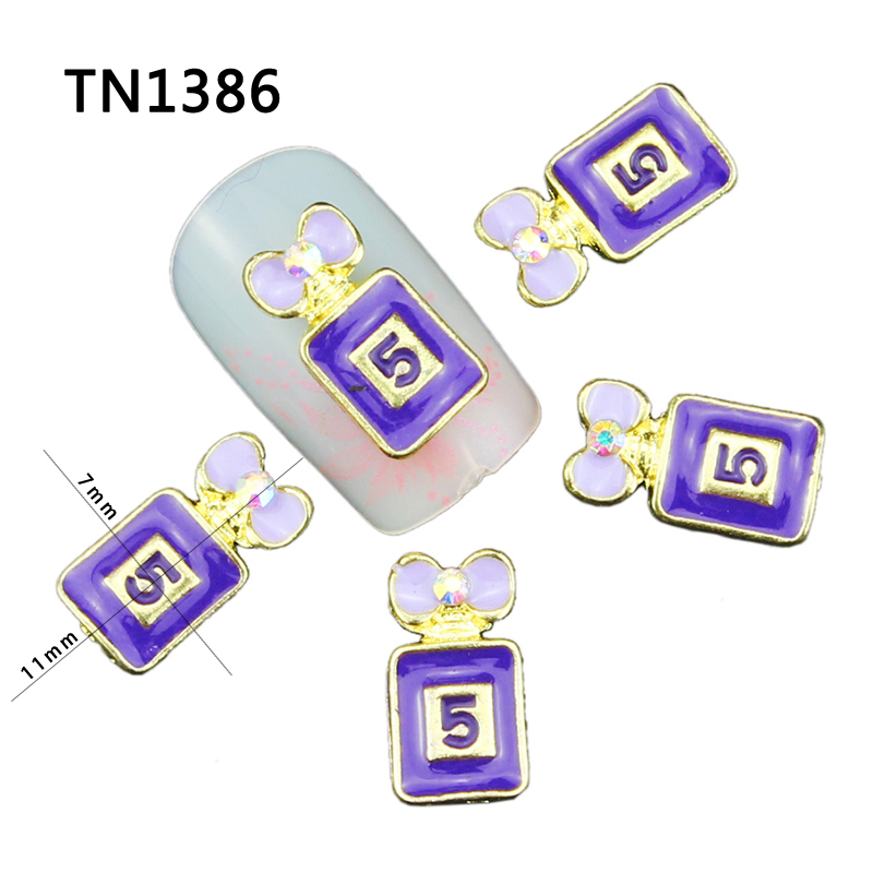 3D Nail Art 10Pcs Perfume Bottles With Bow Design Glitter Charms DIY Manicure Alloy AB Rhinestones Decorations For Nails TN1386(China (Mainland))