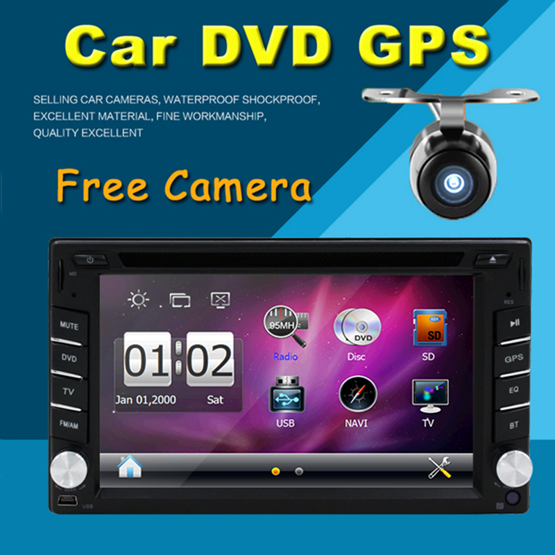 2 din New universal Car Radio GPS Navigation Double din Car DVD Player In dash with Bluetooth+USB+AUX+Free Camera+Free Map(China (Mainland))