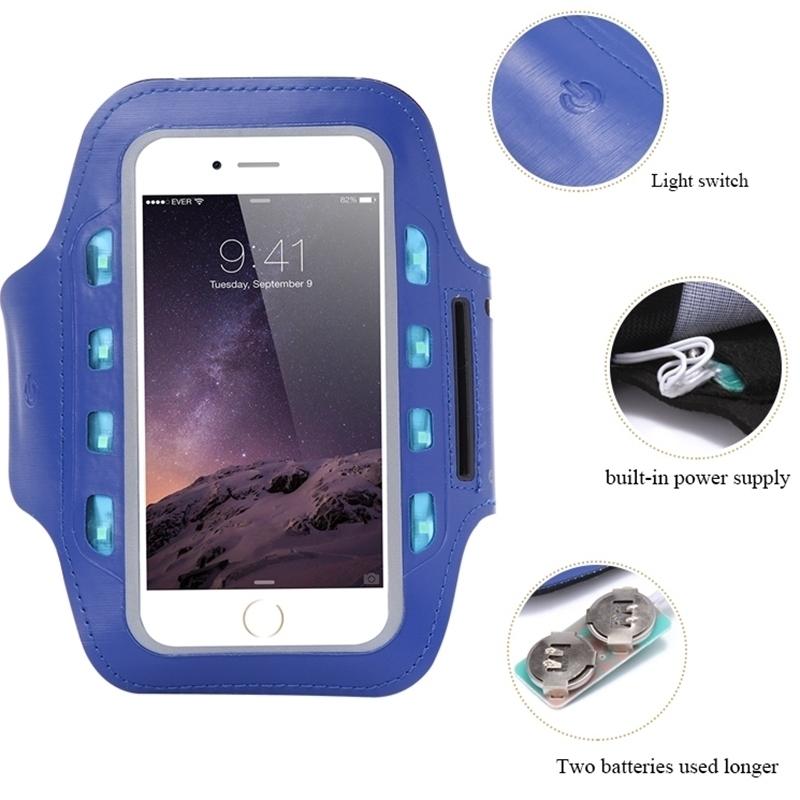 General LED Light Flashing Sport Pouch Running Waterproof Gym Arm Band Case For lg g5 k10 g4 g3 g2 x power k8 g3s leon spirit(China (Mainland))