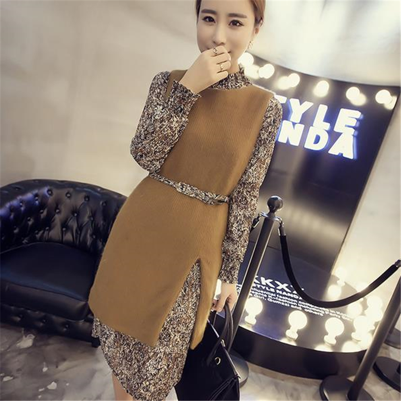 2016 New Korea Print Chiffon Dress Belt Split Knitting Vest Two Pcs Set Women Spring Autumn Winter Novelty Slim Vestidos ZS649(China (Mainland))