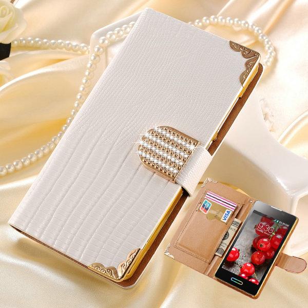 Fashion Style Bling PU Leather Case for LG Optimus L5 II 2 E450 E455 E460 Rhinestone Cover with Card Slot(China (Mainland))