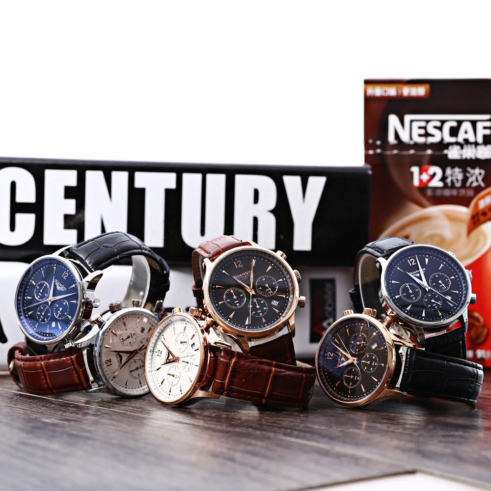 GUANQIN GQ001 Водонепроницаемость Мужчины Япония Роскошные Кварцевые Часы Кожаный Ремешок Для Часов Рабочих суб-набор