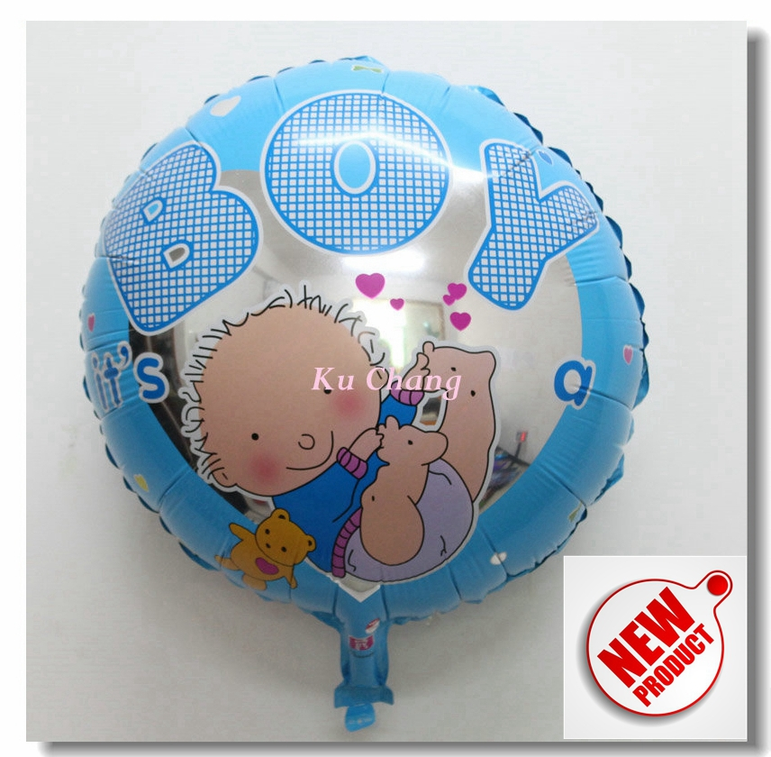New boy balloon round foil balloons 10pcs lot 18 39 blue for Balloon decoration for birthday boy