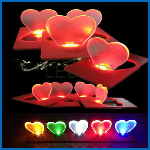 5PCS/lot heart shape purse wallet/portable LED card lamp/light heart mini Portable love pocket LED card free shipping(China (Mainland))