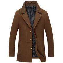 Men's Wool Coat Hot Sale Fashion Trench Coat Autumn Winter Windbreaker Wool Coat Slim Casual Jacket M-3XL Size 4 Colors MWF202(China (Mainland))