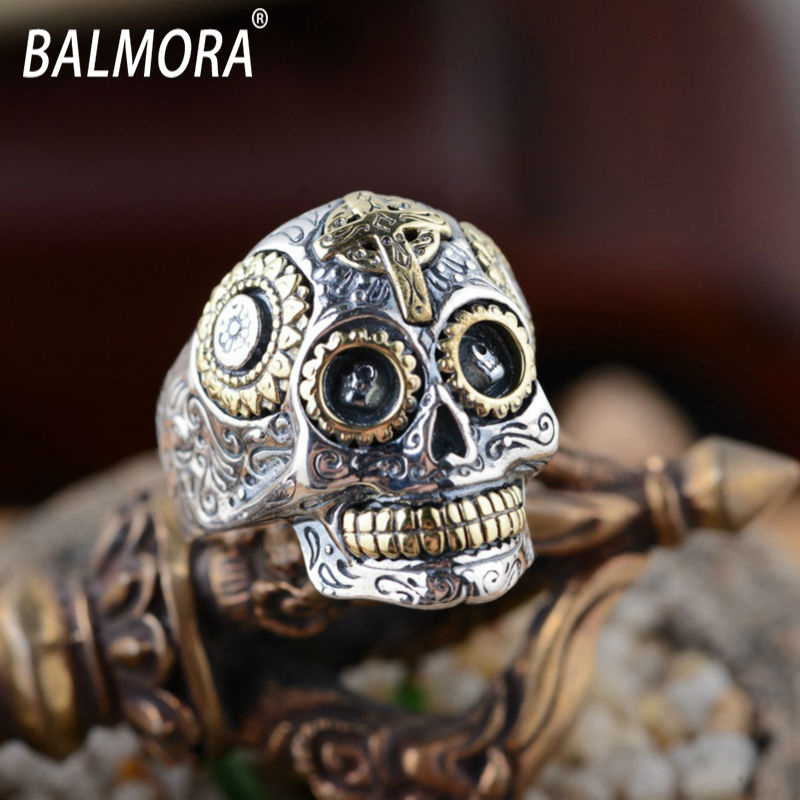 Hot Sale! 100% Real Pure 925 Sterling Silver Jewelry Rings Women Men Retro Handsome Skull Ring SY20540 - Bella Factory Store-LOGO Customized Service store