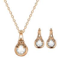 שהסיודוס גבוהה באיכות 2 יח'\חבילה שרשרת עגיל תכשיטי סט זהב צבע סגסוגת עגול קריסטל חלולים נשים תכשיטי סטים(China)