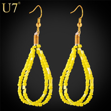 U7 Coral Earrings For Women Drop Earrings Trendy Gold Plated Fashion Jewelry Wholesale African Coral Beads Earrings E743(China (Mainland))