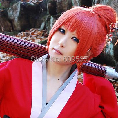 FREE SHIPPING 2014 Gintama Kagura oshihara cos wig orange the other Cosplay wig red Orange short wig + hair bag<br><br>Aliexpress