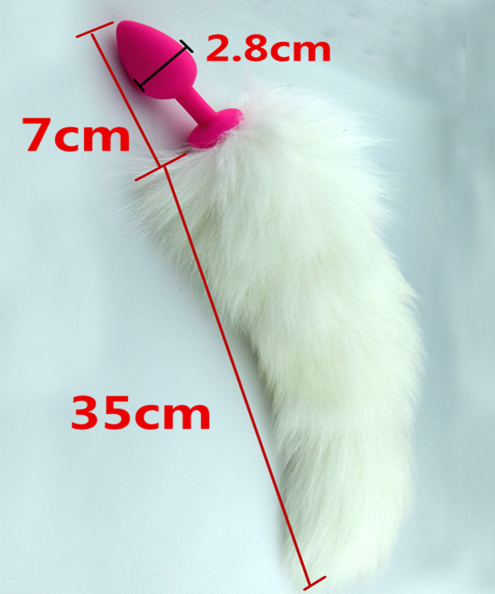 7*2.8 cm Silicone Anus Butt Plug,White Fox Tail Anal Butt Plug In Adult Games,Fetish Porno Erotic Sex Products Toys For Women(China (Mainland))