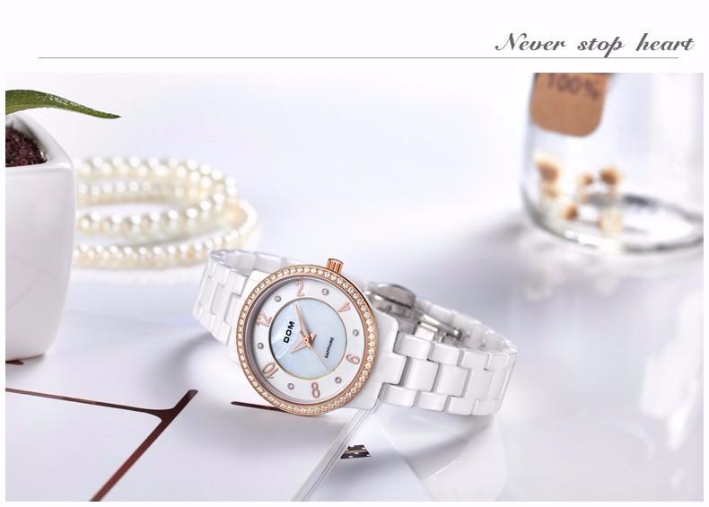 DOM 2016 Женщин Керамические Водонепроницаемые Часы Montre Эксклюзивная Модная Часы Кварцевые Женщины Мода Повседневная Нержавеющей Стали Золотые Часы