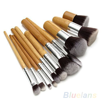 11 шт. деревянной ручкой косметическая тени для век фонд корректор кисти 02Q6 4C48