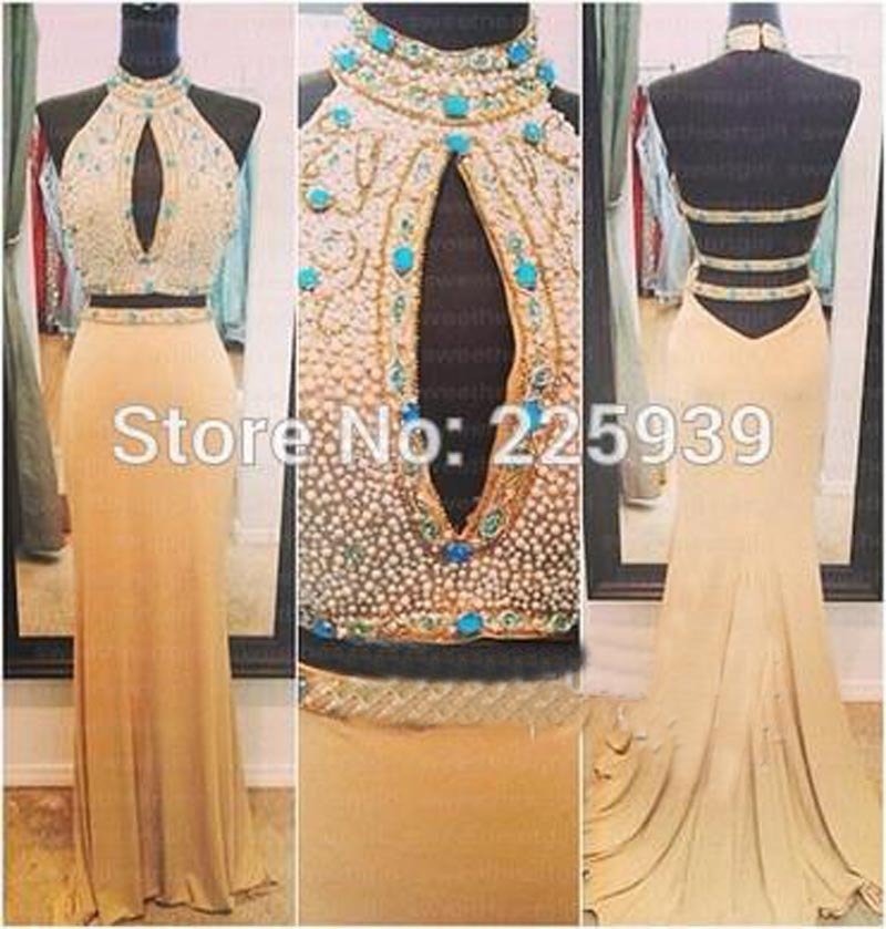 New Arrival High Neck Crystal Rhinestone Beads Open Back Maxi Long Backless 2 Piece Two Piece Crop Top Prom Dresses 2015(China (Mainland))