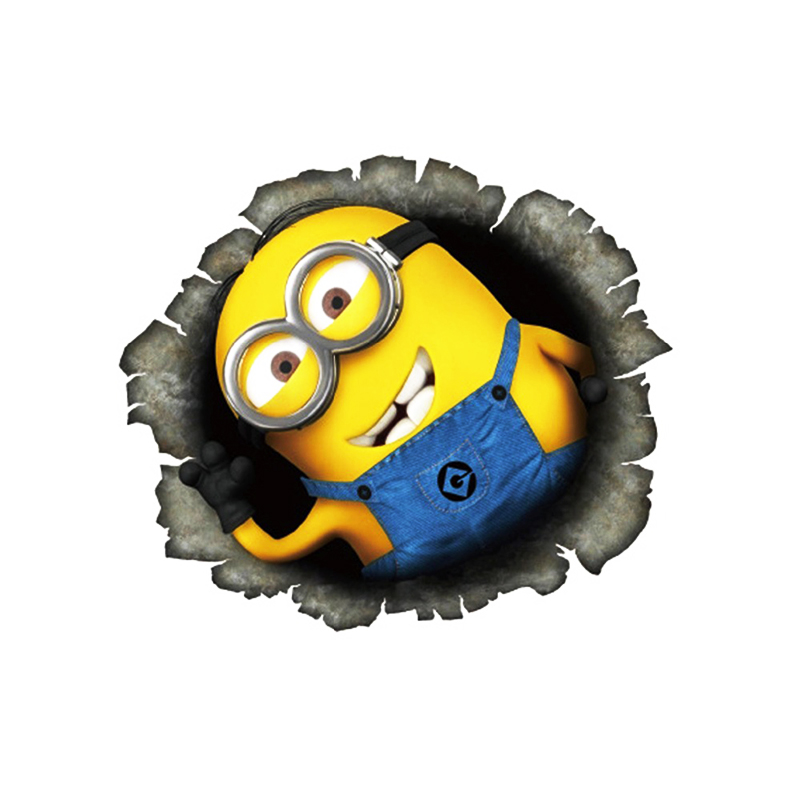 Despicable Me Minions Cute Funny Cartoon Glue Sticker Car Decal Covers Waterproof Reflective on fuel tank(China (Mainland))