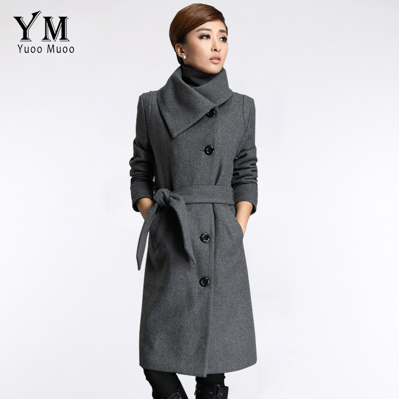 Grey Wool Coat Wool Women Coat Long Belted Women's Promotion ...