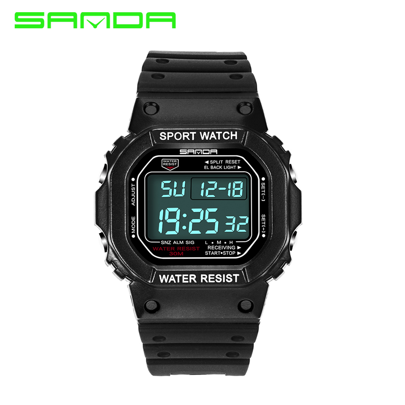 men women fashion rubber digital sports watch Top brand luxury cold light 30M waterproof watch for lover's square led watches(China (Mainland))