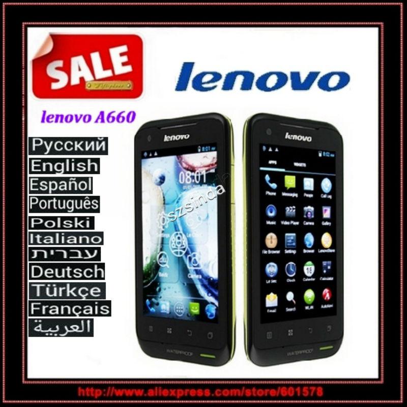 52 Languages Original Lenovo A660 3G Phone MTK6577 4GB Android 4.0 Dual Sim Card waterproof Daul Core WCDMA 3G Cell phone(Hong Kong)