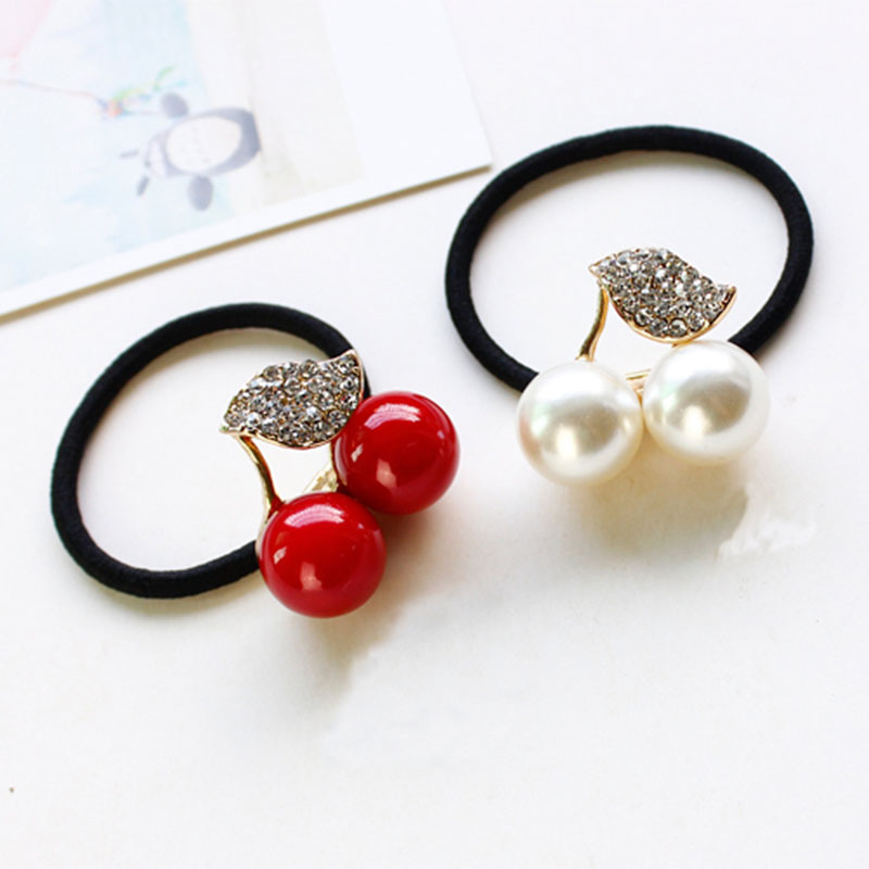 Hot Sale Red White Simulated Pearl Crystal Leaf Cherry Rubber Band Elastic Hair Bands Girls Hair Accessories for Women HeadwearОдежда и ак�е��уары<br><br><br>Aliexpress
