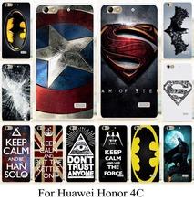 Honor4c пластиковый чехол для Huawei чести 4c чехол супермен бэтмен логотип capatain америка рисунок телефон покрытия
