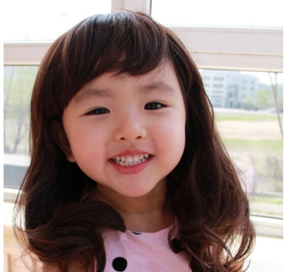 Package mail han edition baby princess wig children set of long curls photography fake wigs of the girls(China (Mainland))