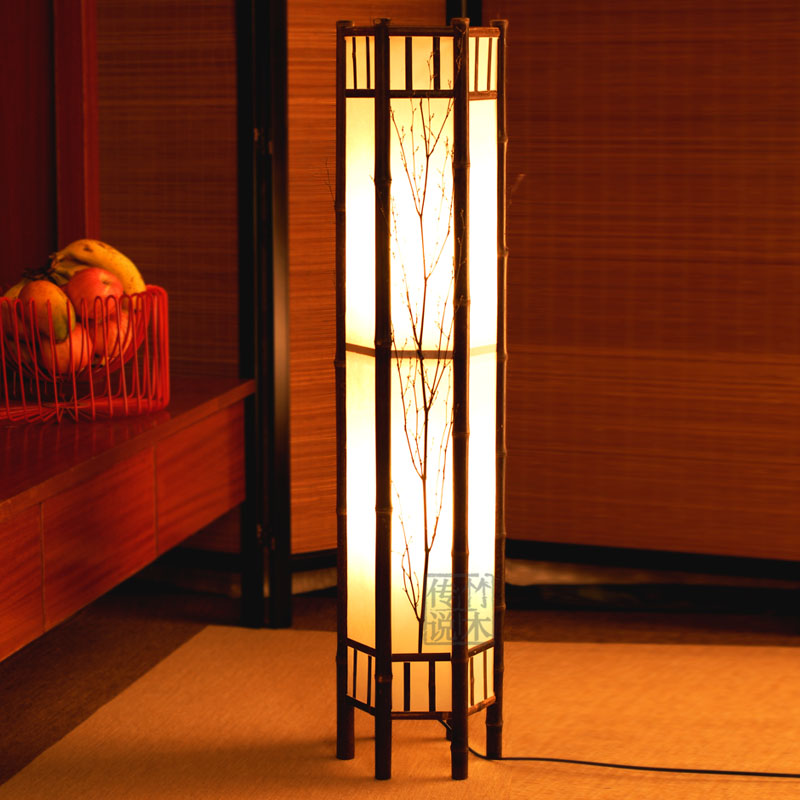 2014 time-limited rushed wood no 220v new arrival chinese style floor lamp japanese rustic bamboo lamps bedroom free shipping(China (Mainland))