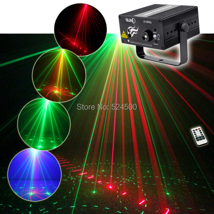 New IR Remote 2 Lens 8 Patterns RG Laser Crossover Effect Project 3W Blue LED Mixing