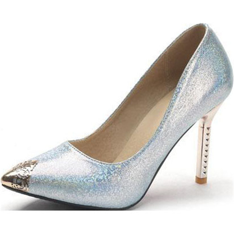 ENMAYER2015 New Fashion Glossy fabric women pumps pointed toe Fine with women shoes sell like hot cakes pumps shoes Size:34-43<br><br>Aliexpress