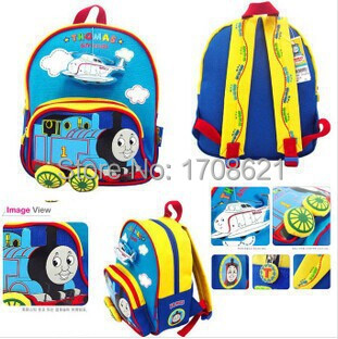 2015 NEW FREE SHIPPING!Lovely Thomas the train Cartoon Children/kids school bag of stereo train wheels can make sound as a gift(China (Mainland))
