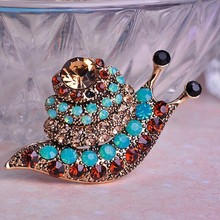 Shiny Blue Opal Crystal Brooches Bouquet For Personality Woman Collar Men Brooch Pin Best Party Accessories Snails Hijab Pins UK