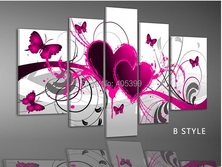 5 Panels Handmade Modern Abstract Oil Painting On Canvas Wall Art ,Happy Wedding Gift House Decoration Wall Art JYJHS004