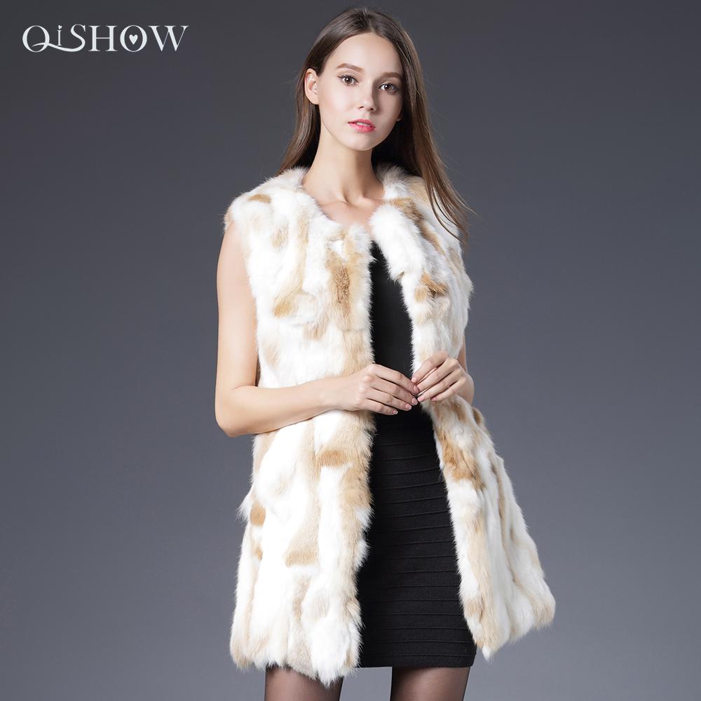 Women Genuine Rabbit Fur Vest 2016 Winter Outwear New Rabbit Fur Coat Waistcoats Female 100% Natural Real Fur Long Jacket Coat(China (Mainland))