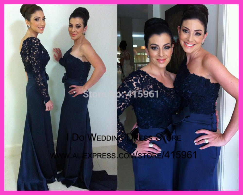 2015 new designers navy blue long sleeve mermaid lace for Navy blue dress wedding guest