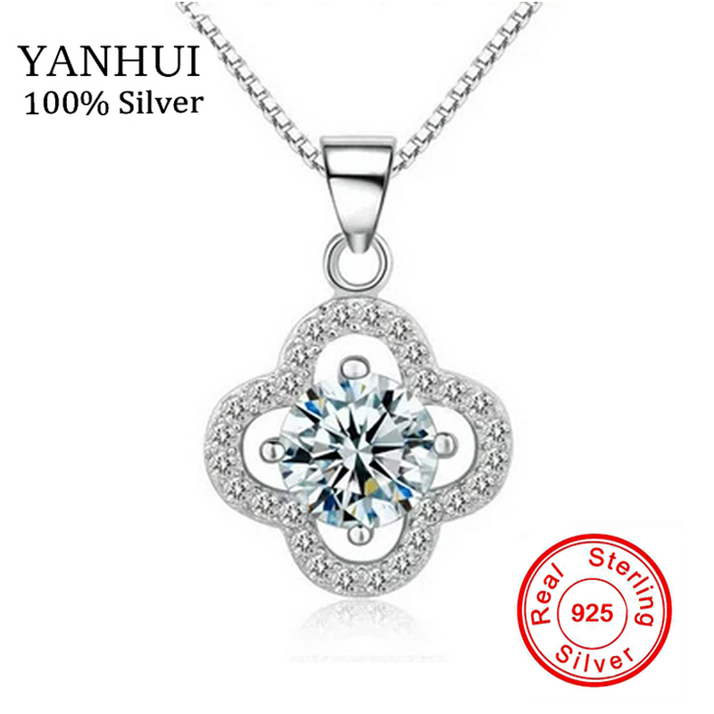90% OFF!!! Genuine Real 925 Solid Silver Necklace 1 Carat SONA CZ Diamond Clover Pendant Necklace Women Wedding Jewelry NSYC001(China (Mainland))