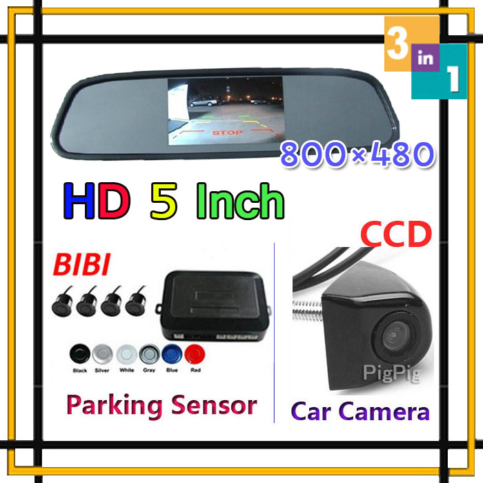 Free Shipping HK 5 inch HD 800*480 Car Mirror Monitor+HD CCD rear view Camera+Car Parking Sensor Assistance 4 Detector Radar Kit<br><br>Aliexpress