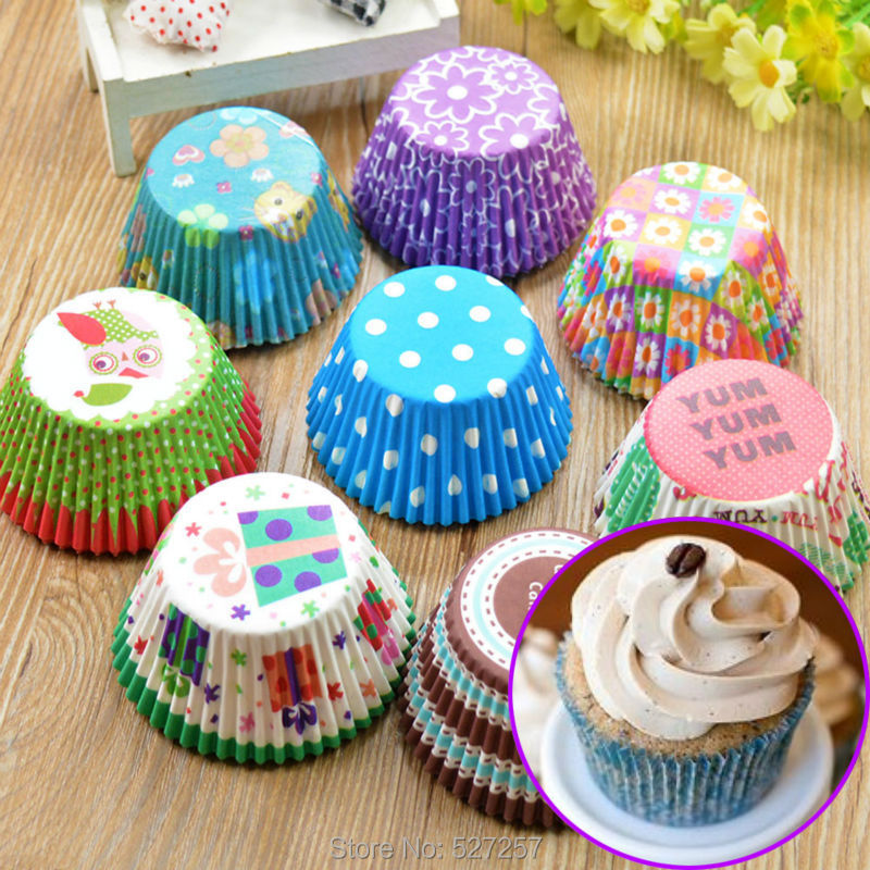 Paper Cake Cup Liners Baking Muffin Kitchen Cupcake Cases Color Send Randomly New 2015 100 PCS(China (Mainland))