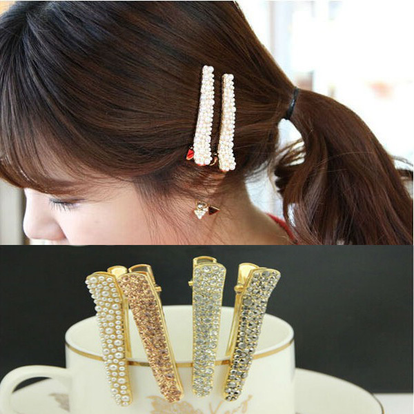 Shine Full Crystal Rhinestone Pin Hair Clip for Girls White Black Champagne Color Small Pearl Alligator Clips A3R1C(China (Mainland))