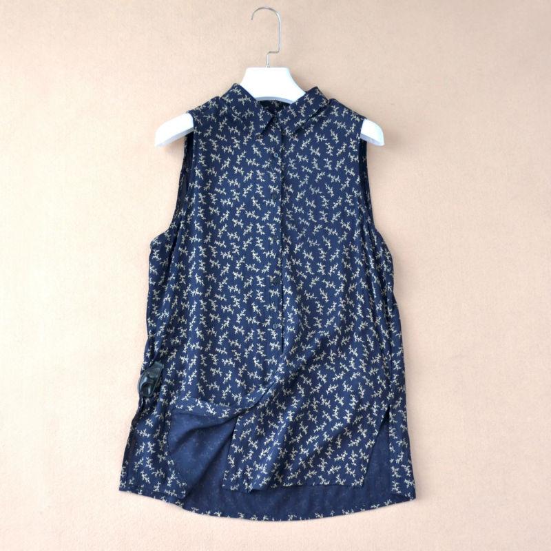 Original Brand Cotton Sleeveless Print Women Blouse Summer Good Quality And Cheap Blouses For Women Elegant Lady Shirt CT805(China (Mainland))