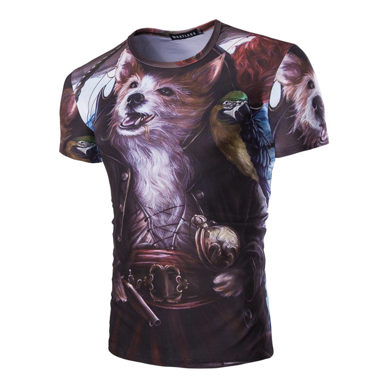 New Trade A Variety Of Animal 3d Printing Essential Leisure T-shirt Metrosexual Man Summer Shirt(China (Mainland))