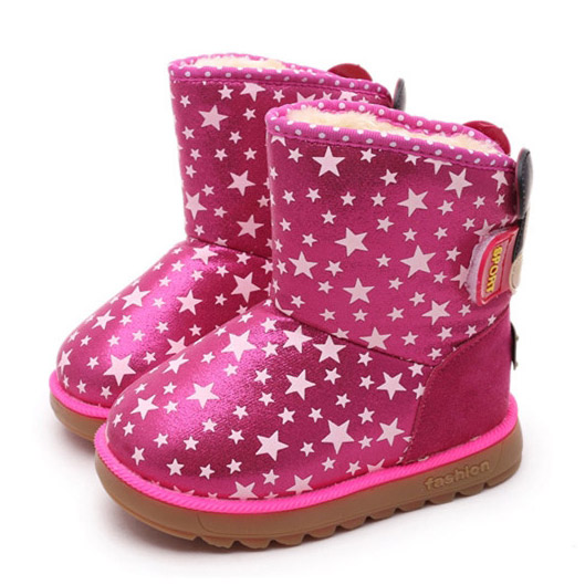 2015 Winter Children Stars Boots Thick Warm Fur Shoes Cotton-Padded Waterproof Pu Boys Girls Snow Boots Kids Footwear Size 26-30(China (Mainland))