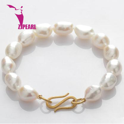 ZJPEARL design 2014 new natural freshwater pearl jewelry ms rose gold buckle Hand natural pearl catenary