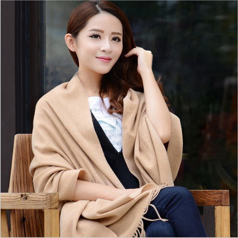 LING/New Autumn And Winter Cashmere Wool Scarf,Thin Soft And Comfortable Of Pure Color Long Fringed Shawl,Pure Wool Scarves w014(China (Mainland))